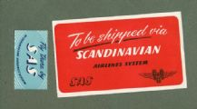 Vintage Airline luggage label Scandinavian air line SAS #175